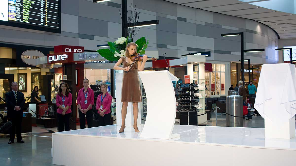 Satu Vanska - violinist - T1 launch – Sydney International Airport
